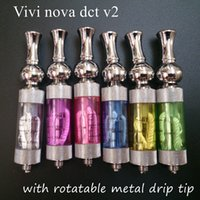 Wholesale Dct Coils - Vivi nova dct v2.0 clearomizer with rotatable metal drip tip vivinova rebuildablbe atomizer 2ml dual coil tank vaporizer PK iclear 30b 30