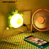 Wholesale Turtle Lights For Baby - Wholesale- New Green Turtles Led Sound Motion Lights Control Night Light Energy Saving Lamps Tortoise Wall Lamp For Baby Bedroom Bedside