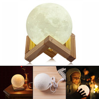 Wholesale Gift Card Printing - Rechargeable 3D Print Moon Lamp 2 Color Change Touch Switch Bedroom Bookcase Night Light Home Decor Creative Gift