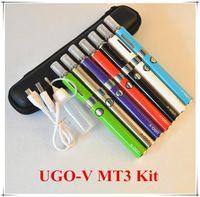 Wholesale Ego Starter Kit Usb Passthrough - UGO V E Cigarette eVod MT3 Micro USB Passthrough Batteries eGo Starter Kits Mini Case 650mah 900mah Multi Color Atomizer 2.4ml Tank