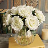 """Wholesale Single Stem Roses - Single Stem Velvet Rose 27cm 10.63"""" Length Artificial Flowers Short Flannelette Roses for Home Xmas Showcase Deecor"""