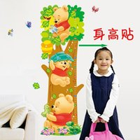 Wholesale Ruler Adhesive - Free shipping -75-140 cm Ruler Kids wall stickers Lovely WTP Bear & butterflies Kids Growth Chart Height Tower wall sticker TY509