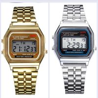 Wholesale men classic square watches - New Fashion silver gold Classic Men Women Retro Stainless Steel LCD Digital Sports Stopwatch Wrist Watch LOO