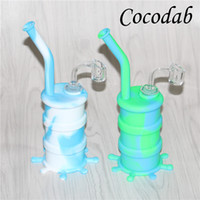 Wholesale nail barrel resale online - Colorful Silicone Barrel Bongs with glass downstem silicone water pipe dab rig smoking pipes all Clear mm thickness mm male quartz nails