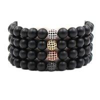 ingrosso gioielli in pietra di zircone-2019 NUOVI braccialetti di perline fatti a mano zircone 4 colori pietra pomice 8 mm braccialetti di roccia vulcanica per uomini gioielli donna WX-175