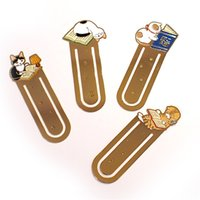 Wholesale Metal Cat Bookmark Wholesale - 12 pcs lot Cartoon Metal iron bookmark for books Cute cat bookmarks Paper clip Stationery Office accessories School supplies