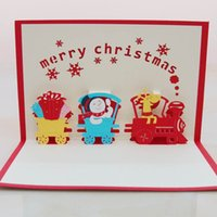 Wholesale Paper Snowman - 50pcs Christmas Train with Snowman 3D handmade decoration pop up paper laser cut greeting cards crafts kirigami Christmas cards
