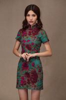 Wholesale Chinese Traditional Dress Green - Free shipping vestidos Linen cheongsam dress chinese traditional Dress Line Oriental dress Qipao chinese women's dress SW781