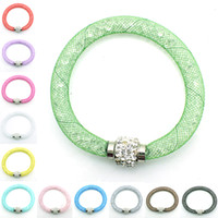 Wholesale Silver Bangle Mesh Cuff - Mix Sales Spring Style Charm Bracelets Crystal Mesh For Women Magnetic Clasp Infinity Bracelets Bangles Jewelry
