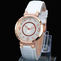 Wholesale Diamond Band Watches - New Luxury watch For women famous brand wristwatch diamond leather band Buckle black&blue&brown&white fashion lady female watch
