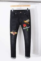 Wholesale Mens Embroidered Jeans - New designer Italy Style Mens Distressed Bee Embroidered Pants Washed Black Skinny robin jeans Slim biker Trousers fear of god jeans for men