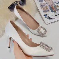 Yuf32H White Sparkling Wedding Party strass in raso di seta del cuoio genuino 7.5 cm tacchi alti pompe ufficio lady dress scarpe Sz 35-40