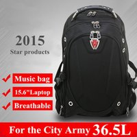 Wholesale Swiss Notebook - 2016 New 15.6 inch notebook laptop computer backpack man swiss bag student hiking rucksack daily fashion black quality waterproof backpack