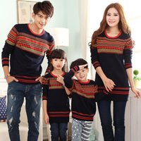 Wholesale Clothes For Father Son - Wholesale-Family Clothes for Mother Daughter Father Son Stripe Sweaters Girls Boys Women Men Sweaters Lovers Couples Clothes 3Colors AR006
