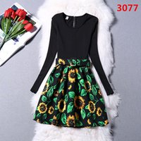Wholesale Vintage Sunflower Dress - 2015 new Winter Fashion Christmas Dress Vintage Design Westernism Print Sexy Tight Side Dresses Women Clothing Casual Dresses sunflower 6053