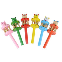 Wholesale Kids Wooden Musical Instruments - Wholesale- 1 Pcs Wooden Jingle Toy Bell Toy Cartoon Wooden Handbell Musical Developmental Instrument Gift for kids Baby Hot Sale