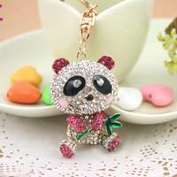 Wholesale Key Panda Free Shipping - Drop Shipping Fashion Keyring holder,China Panda Key chains,Purse handbag Charms,Nice Gift Real Gold Plated Alloy Keyring,free shipping