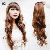 tek parça sentetik saç uzantıları toptan satış-27 inç Tek Parça Yeni Uzun Sentetik Kıvırcık / Dalga Yarım kafa Saç Uzantıları Şekillendirici Şık Queens Saç