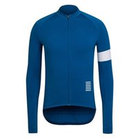 Wholesale Rapha Pro Long Sleeve Cycling Jerseys Durable Perspiration Breathable Blue Cycling Tops Clothing