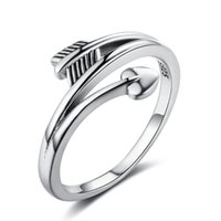 Anéis de dedo feminino Vintage Love Arrow Shape Rings Promise Love Heart Anings 925 Sterling Silver Jewelry
