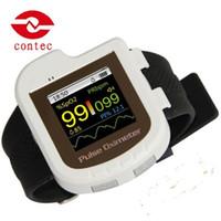 Wholesale Digital Finger Oximeter - Wholesale New CONTEC Digital Wrist Pulse Oximeter Spo2 Monitor Finger Probe Free Bluetooth CMS50IW Free Shipping