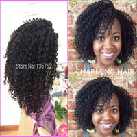 Wholesale Pure Virgin Lace Wigs - 100% Pure Virgin Mongolian Kinky Curly Wigs Afro Kinky Curly Human Hair Wig Full Lace Wig & Front Lace Wig Mongolian Hair Wigs Bleached