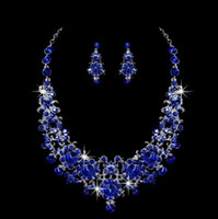 Wholesale Wedding Jewelry Sets Royal Blue - 2018 Royal Blue Bridal Jewelry Crystal Shinning Bride Necklace Earring Rhinestone Beaded Wedding Jewelry Set Prom Party Accessory Stock