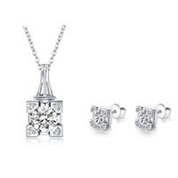 Wholesale Eiffel Earrings - New Guarantee AAA 100% Sterling Silver 925 Starry Eiffel Tower Jewelry Sets for Women Free Shipping