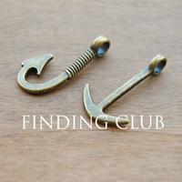 Wholesale Bronze Pendant Clasp - 50 pcs (25pcs hook and 25pcs anchor) Antique Bronze Anchor and Fish Hook Charm Pendant Assortment Set