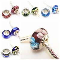 Wholesale Bracelet Glass Tubes - Silver plated 925 logo Murano big hole Beads Glass Beads Clear Cz screw thread tube Fits European Bracelet Necklace accessories charms