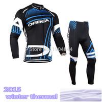 Wholesale cycling jerseys set thermal winter resale online - orbea Pro cycling jersey Fleece thermal Winter cycling clothing Long set MTB GEL Pad Bib pants set Hot Sale