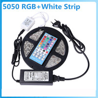 5050 SMD RGBW / RGBWW Flexible Led Strip Light 5M 60Leds / M IP65 étanche Strips Light + 40 Keys IR Remote + 12V 5A Power Adapter
