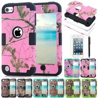 Wholesale Iphone Skin Camo - New Unique Tree Camo Silicone Heavy duty Rugged Shockproof Protective Hard Back Cover Skin case for ipod touch 5 6
