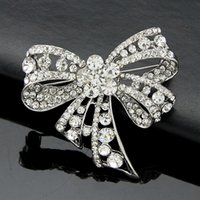 Wholesale Bow Diamond Brooch - Korean high-grade diamond color retention brooch diamond bow brooch fashion clothing manufacturers, wholesale-made men and women