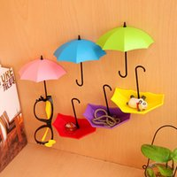 Wholesale Decorative Umbrellas Wholesale - Wholesale- 3Pcs Colorful Umbrella Wall Hook Key Hair Pin Holder Organizer Decorative Free Shipping