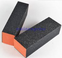 Wholesale Orange Tip - Orange Black Nail Art Tips Acrylic Buffer Block Nail Files Manicure Sanding Tool for Filling Nail Extensions