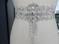 Wholesale Beaded Bow Accessory - Hot 2016 Luxury Handmade Satin Crystal Beaded Bridal Sashes Belts Full Crystals Back Bow Wedding Dress Sash Wedding Bridal Accessories
