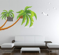 papier de décalcomanie libre de pvc achat en gros de-Nouveau 2015 Plus grands palmiers Arbre Sticker Mural PVC Papier peint Décor À La Maison De Noix De Coco Oiseaux Stickers Muraux Livraison Gratuite