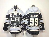 chandails à capuchon de hockey wayne gretzky achat en gros de-2016, Los Angeles Kings 99 Wayne Gretzky Noir C Patch Old Time Hockey LA Hoodie Hoodies Vêtements De Hockey Sur Glace