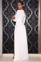 Wholesale Double Maxi Long Dress - Wholesale-Celebrity Kim Kardashian Deep V Neck Long Sleeve Split Prom Maxi Dress High Side Double Slit Long Evening Party Dress White Red