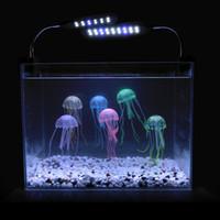 akvaryum denizanası dekorasyonu toptan satış-5 adet / grup Yumuşak Renkli Silikon Floresan Yüzer Parlayan Denizanası Etkisi Fish Tank Dekorasyon Akvaryum Yapay Jöle balık Süs