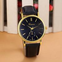 hombres mujeres relojes promociones al por mayor-New Geneva Unisex Women Men Watch Simple Classic Leather Montre Analog Quartz Vogue Reloj de pulsera Promociones