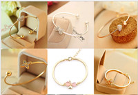 Wholesale Bow Bracelets Chain - Chic Cuff Fashion Zircon Crystal Heart Bow Pearls A lots of style Link Chain Charm Bangle Bracelet Mix Order DD222
