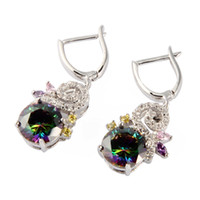 Wholesale Christmas Reviews - Best Sellers Recommend Classic Fashion Rainbow Cubic Zirconia Silver Plated Earrings R709G Rave reviews First class products