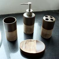 Wholesale Toilet Soap Wholesalers - 4pcs  Set Bathroom Accessory Set Toilet Requisites Soap Dish Liquid Dispenser Toothbrush Holder Tumbler Bathroom Accessories Set