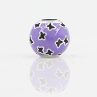 Wholesale bead stores for sale - Group buy New Arrival Lucky Butterfly DIY Jewelry Fit for Pandara Bracelet Purple Enamel European Charms Bead In Lucky Sonny Store LB