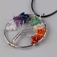 Wholesale Create Charm Necklace - Tree of Life Created Circle Pendant 7 Chakra Crystal Stone Tree Of Life Pendants Reiki Healing Charm Jewelry Natural Stone Pendant For Women