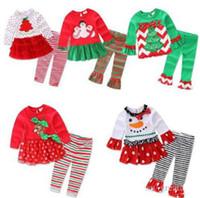 zebra kostüm für kinder großhandel-Heißes Baby-Weihnachtskostümkind-langärmliges Kleid + striped Hose 2pcs stellte Babybaumwollweihnachtskleidung 6 Art Spitzenqualität ein