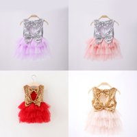 Wholesale European Dress Pink - Girls Sequins Cake Skirt Bow Suspender Skirt Summer TUTU Skirts Grenadine Fashion Baby Girls Dresses 2-7 T