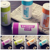 Wholesale Battery Hand Warmers - Simulation Battery Shape Water Cup 350ML Stainless Steel Coffee Mug Cup Thermo Mug Coffee Milk Water Cups 60pcs LJJO3777